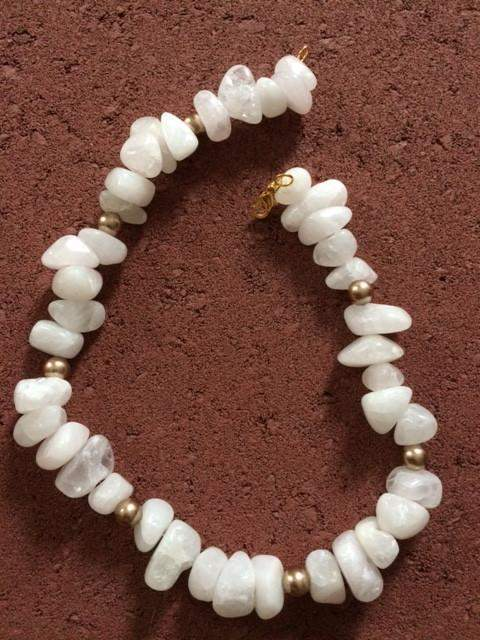 White Agate Beads with Gold Swarovski Pearl Beads - JaeBee Jewelry
