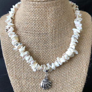 White Natural Shell Collar Necklace