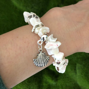 White Shell Stretch Bracelet - JaeBee Jewelry