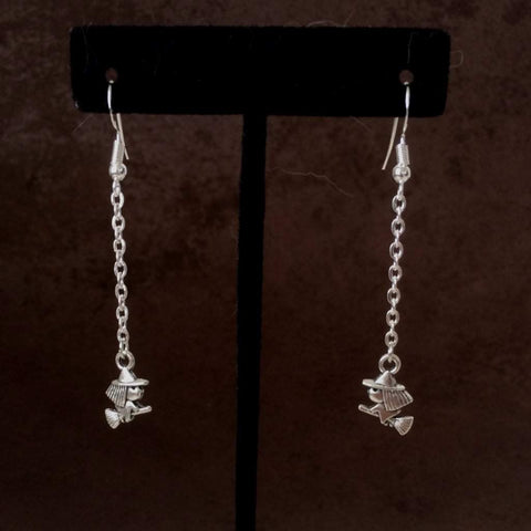 Halloween Silver Witch Long Dangle Earrings