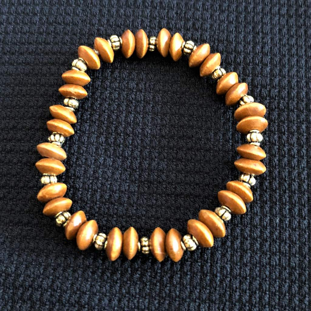 Wood and Gold Beaded Stretch Bracelet - JaeBee Jewelry