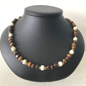 Brown and Beige Wood Beaded Mens Necklace - JaeBee