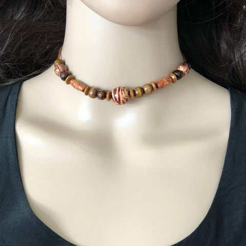 Boho Brown Wood Beaded Choker