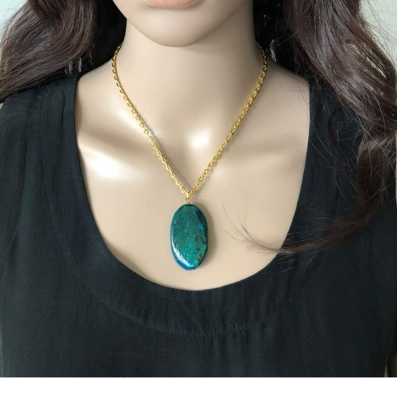 Yellow Turquoise Oval Stone Gold Chain Necklace - JaeBee Jewelry
