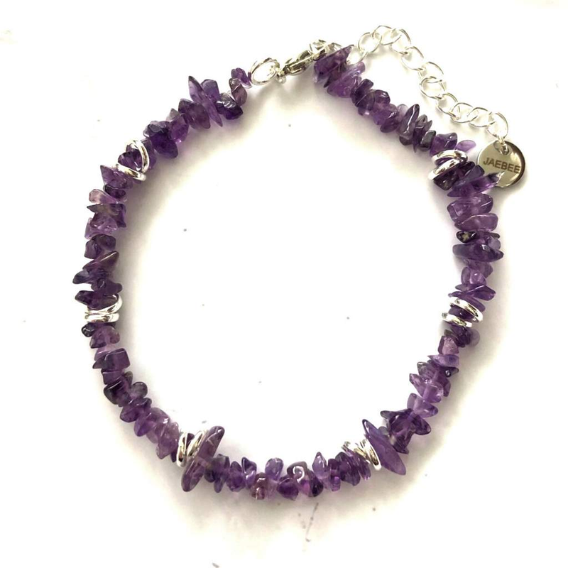 Amethyst Chip and Silver Ring Bracelet