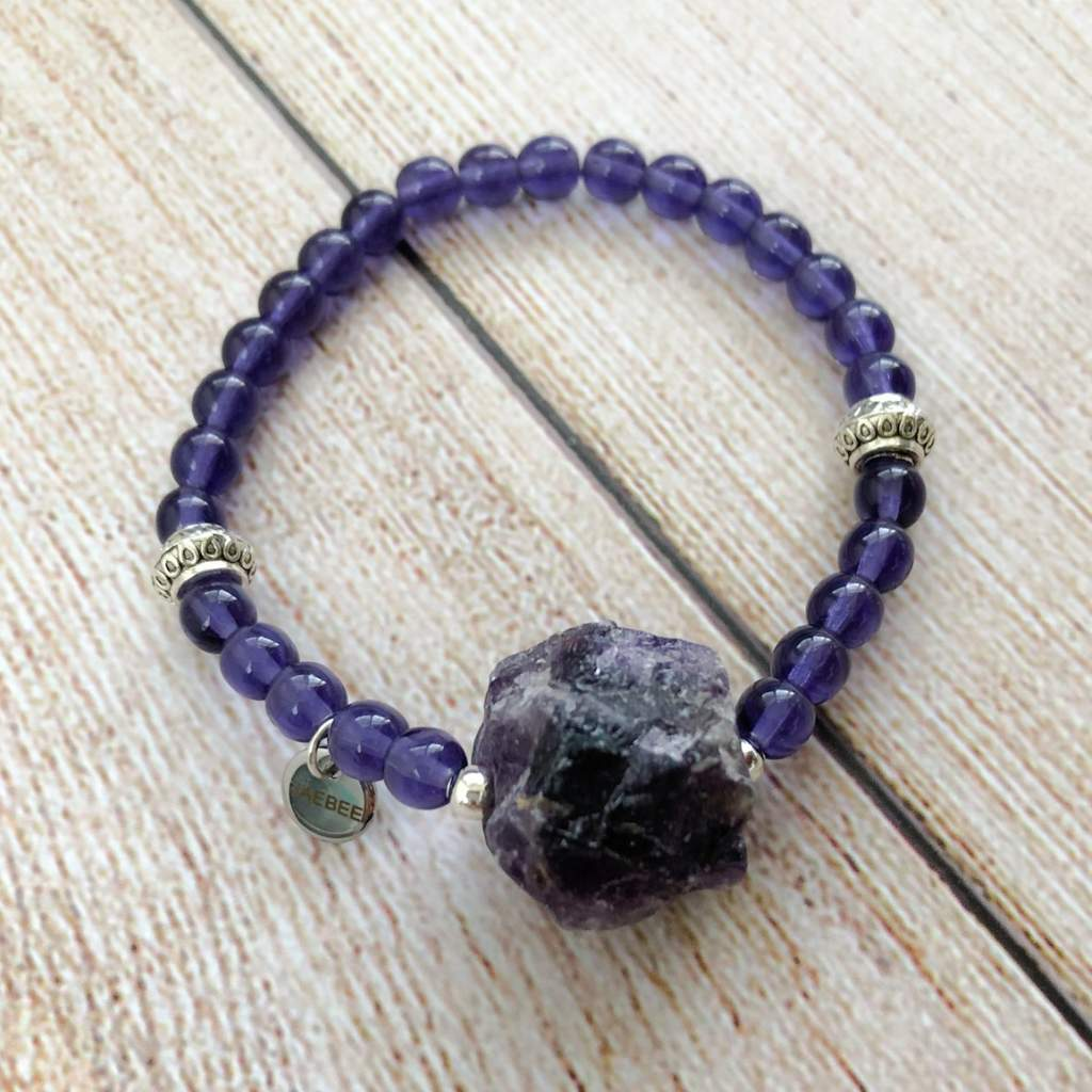 Amethyst Raw Stone Stretch Bracelet