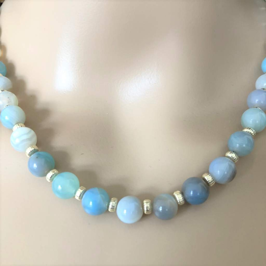 Arctic Blue Agate and Silver Beaded Necklace - JaeBee Jewelry
