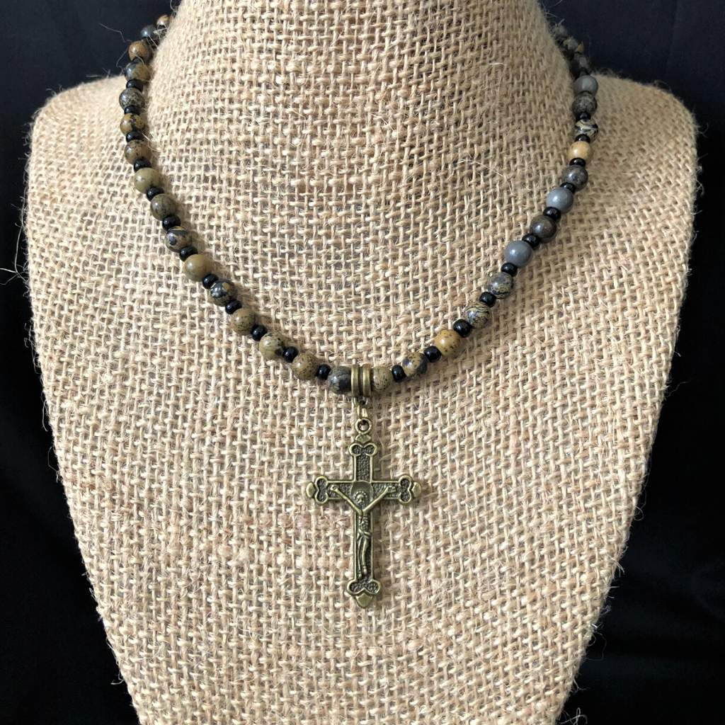 Artistic Stone and Gold Cross Mens Necklace - JaeBee Jewelry