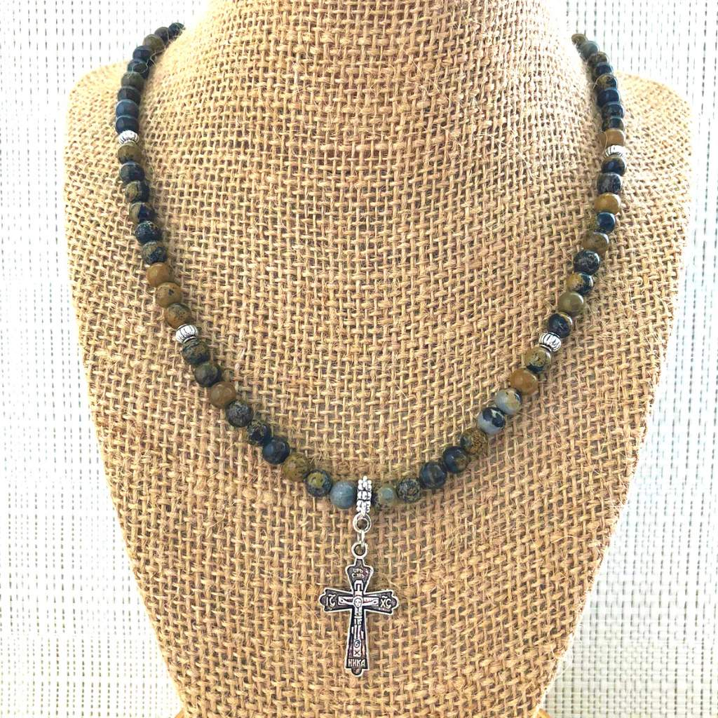 Artistic Stone Mens Brown Beaded Necklace with Silver Cross - JaeBee Jewelry