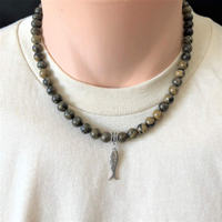 Mens Artistic Stone and Silver Fish Beaded Necklace