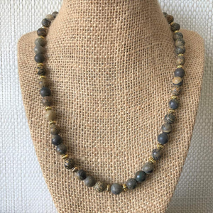 Mens Artistic Brown and Gray Matte Necklace - JaeBee Jewelry