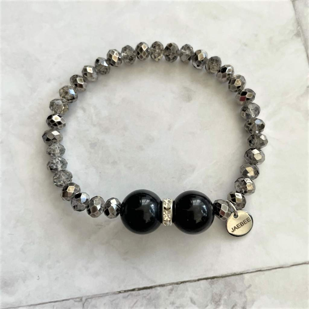 Black Agate and Metallic Hematite Beaded Bracelet