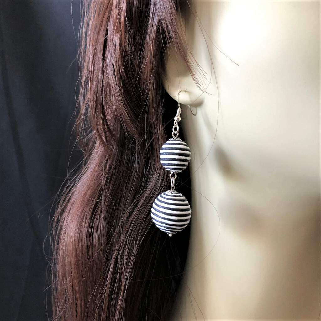 Black and White Striped Thread Ball Long Drop Earrings - JaeBee Jewelry