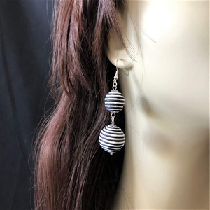 Black and White Striped Thread Ball Long Drop Earrings - JaeBee