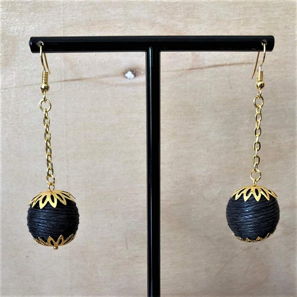 Black Ball Long Gold Dangle Earrings