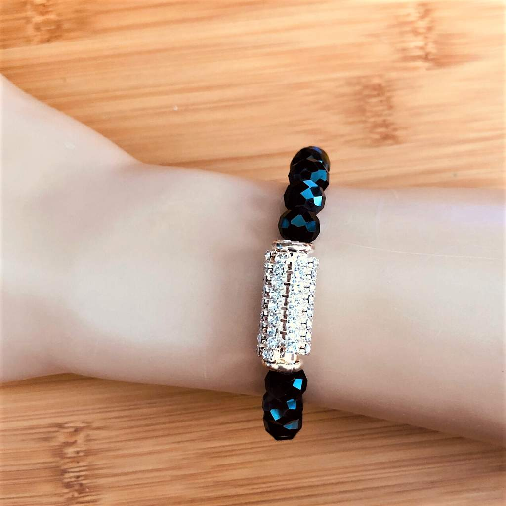 Black Crystal and Rhinestone Bracelet - JaeBee Jewelry