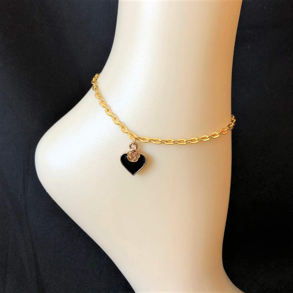 Black Heart and Gold Rose Anklet - JaeBee Jewelry