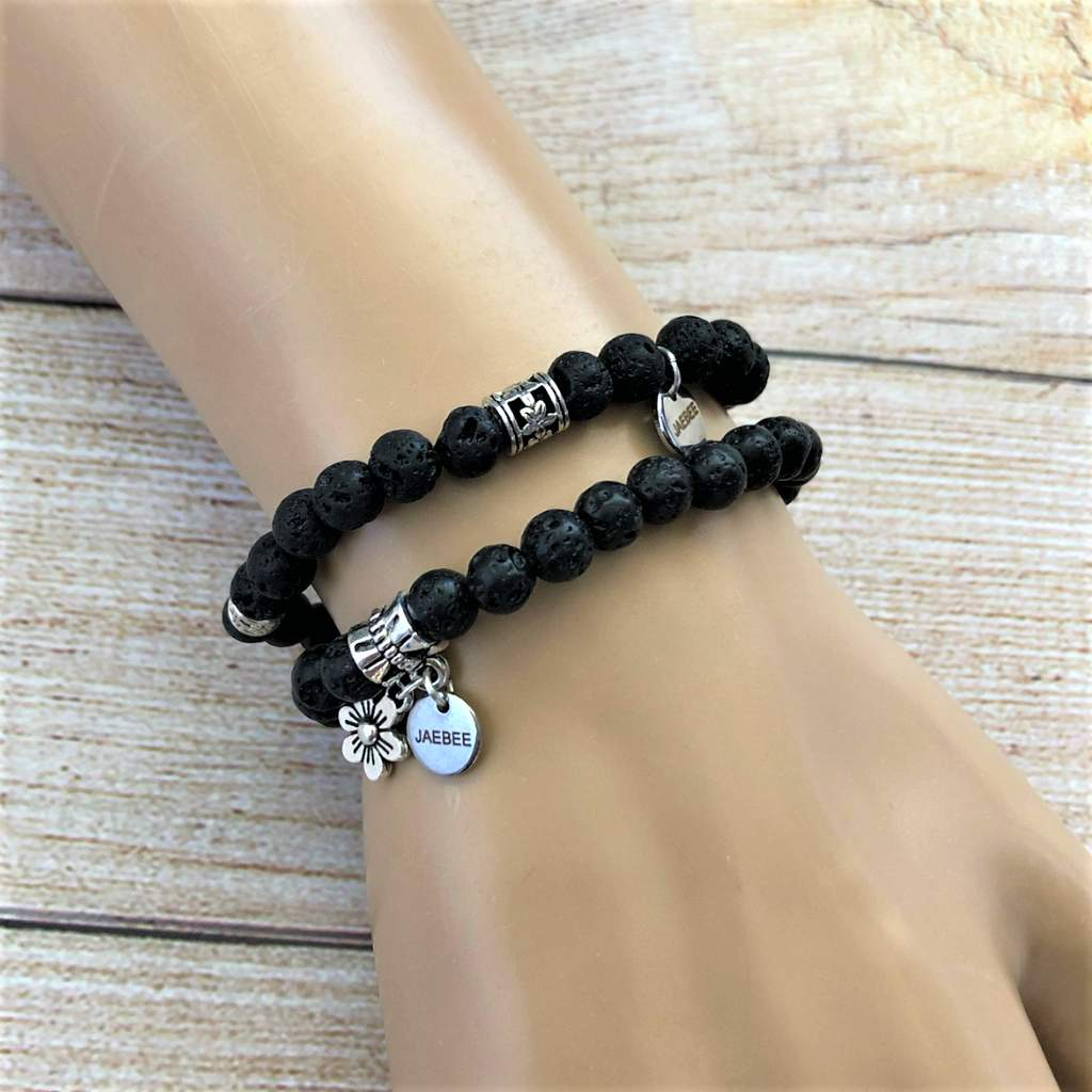 Black Lava and Silver Beaded Bracelet Set