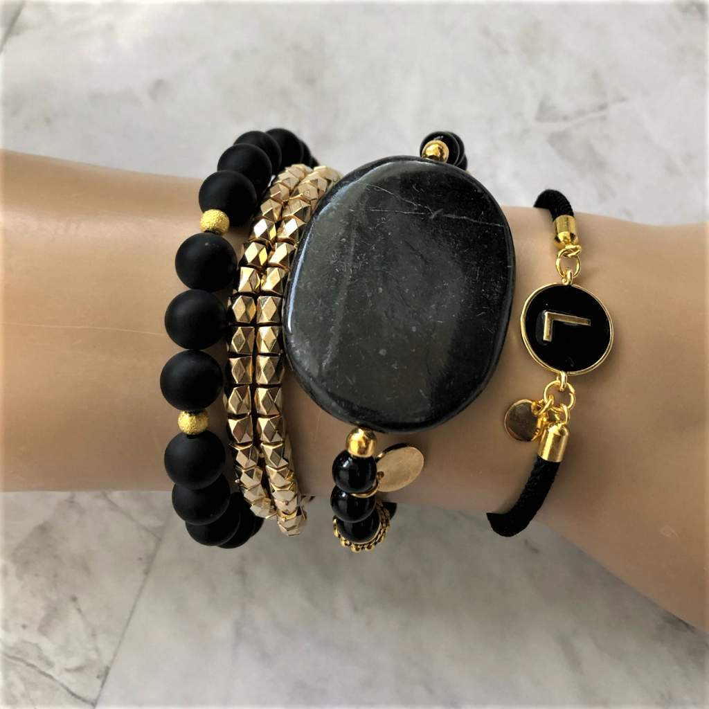 Black Marble Stone with Black Onyx and Gold Beaded Bracelet