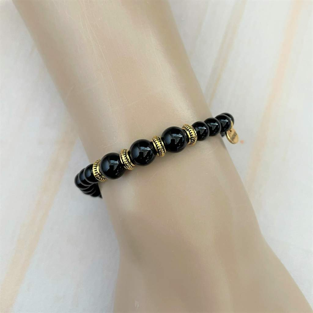 Black Onyx and Gold Beaded Bracelet