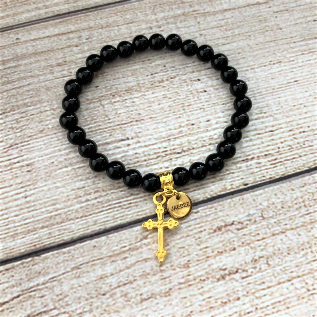Black and Gold Cross Stack Bracelet Set