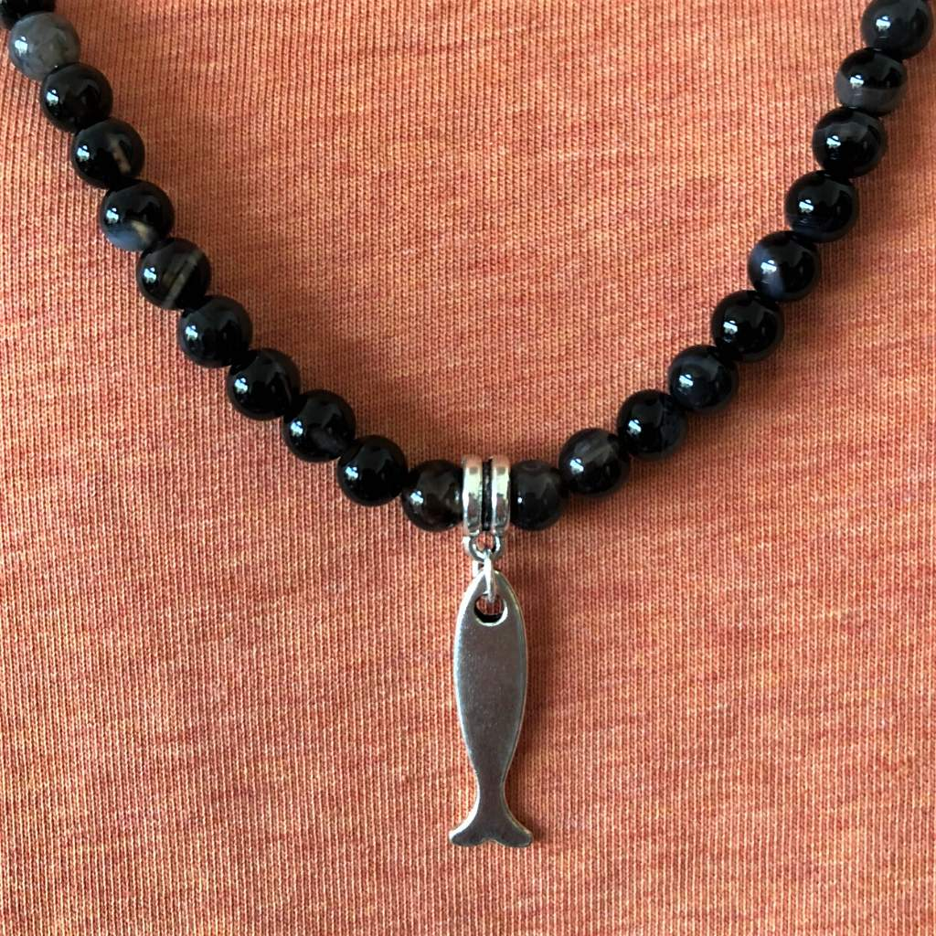 Black Sardonyx Mens Beaded Necklace With Silver Fish Charm - JaeBee Jewelry