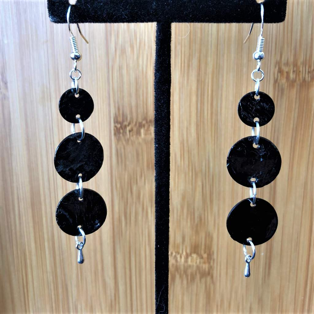 Black Shell Long Dangle Earrings - JaeBee Jewelry