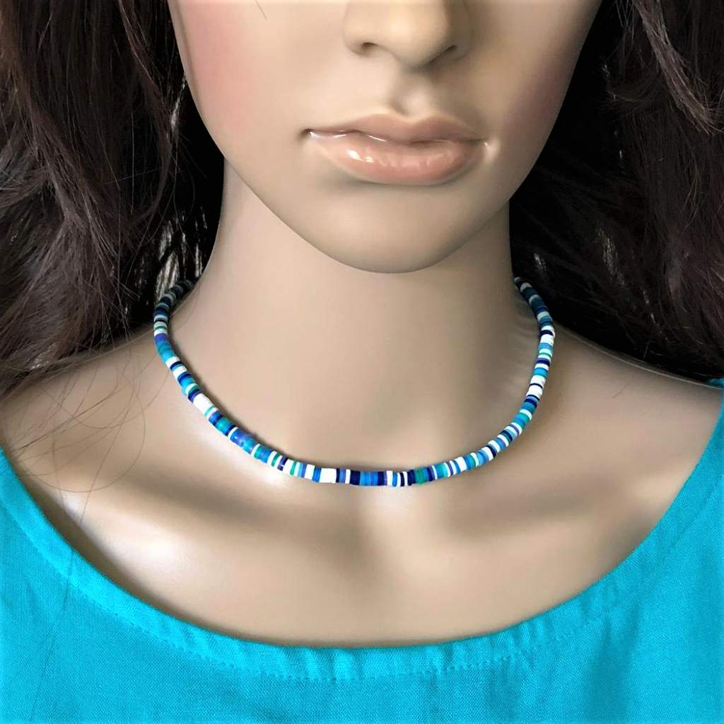 Blue and White Striped Polymer Necklace