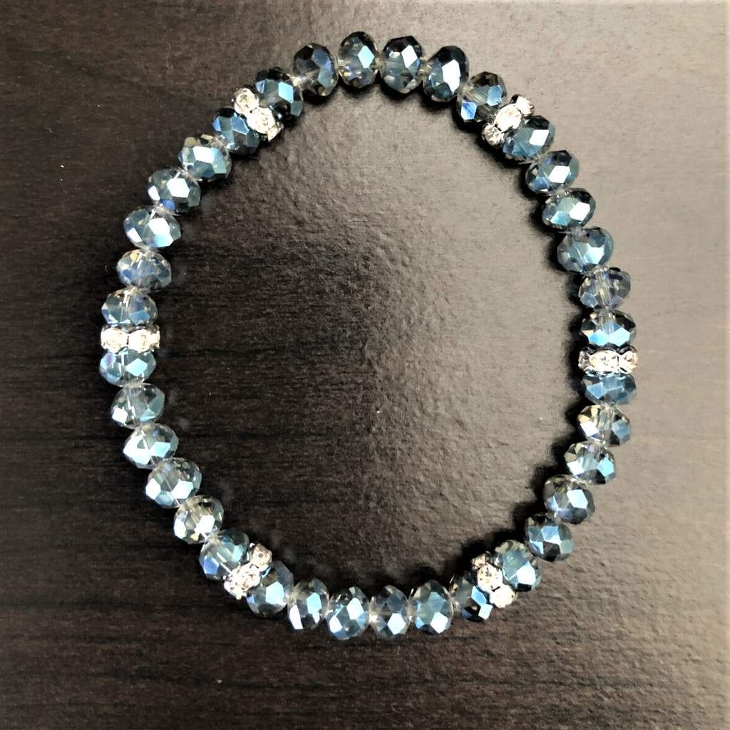 Blue Diamond Crystal Faceted Stretch Bracelet - JaeBee Jewelry