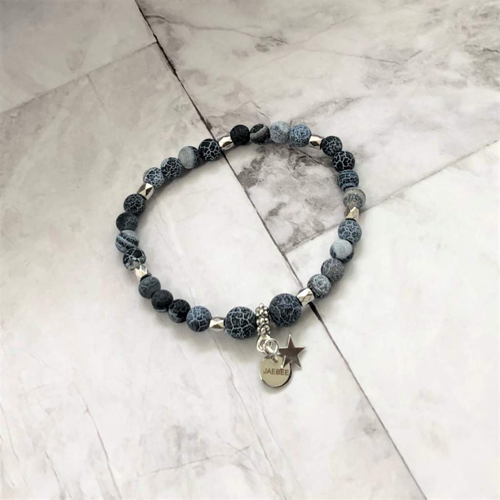 Midnight Blue Fire Matte Agate Beaded Silver Star Bracelet