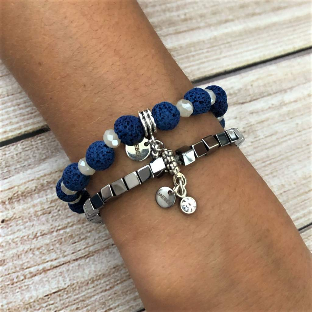 Blue Lava and Pearl Crystal Beaded Bracelet