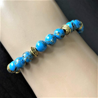 Blue Mosaic Shell and Gold Beaded Bracelet - JaeBee Jewelry