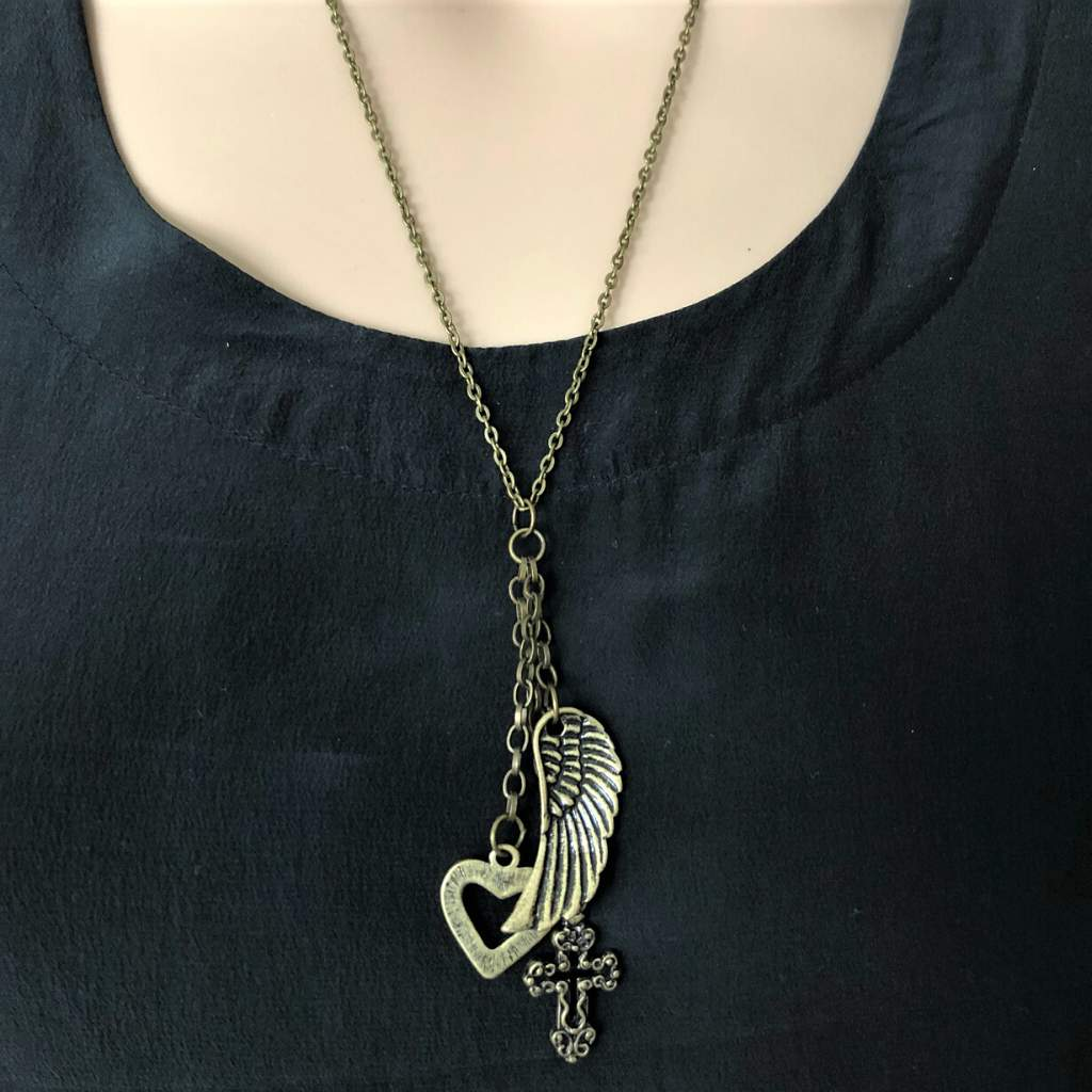 Antique Brass Boho Wing, Heart, and Cross Long Necklace