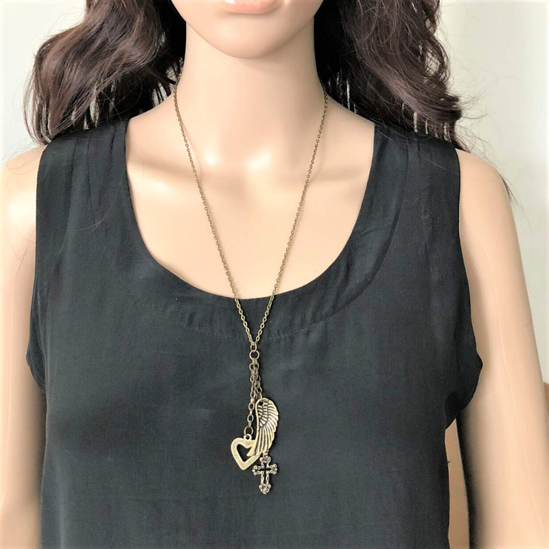Antique Brass Boho Wing, Heart, and Cross Long Necklace - JaeBee Jewelry