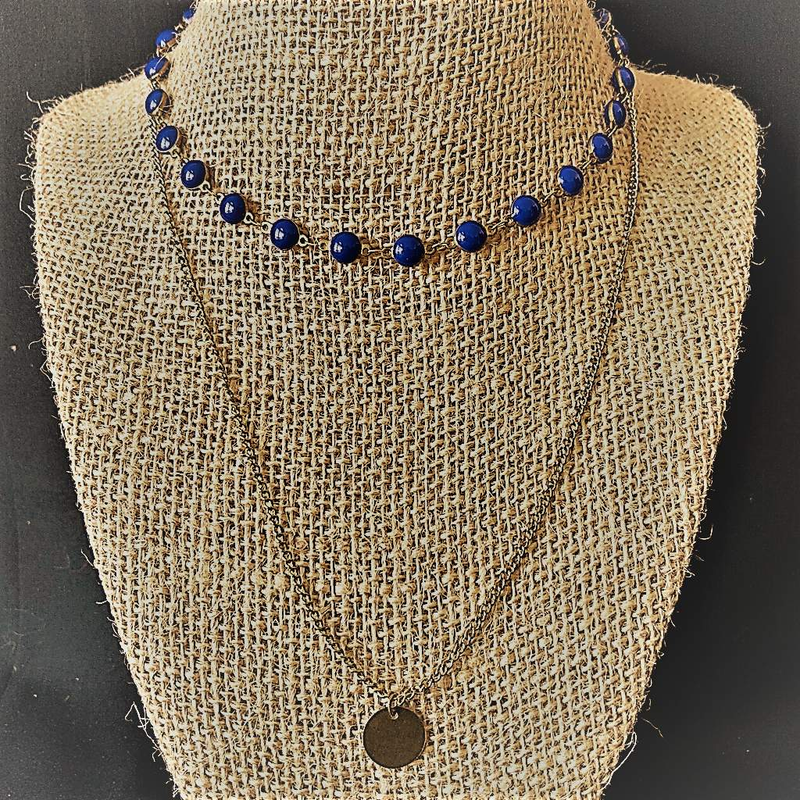 Bronze Layered Beaded Disc Necklace - JaeBee Jewelry