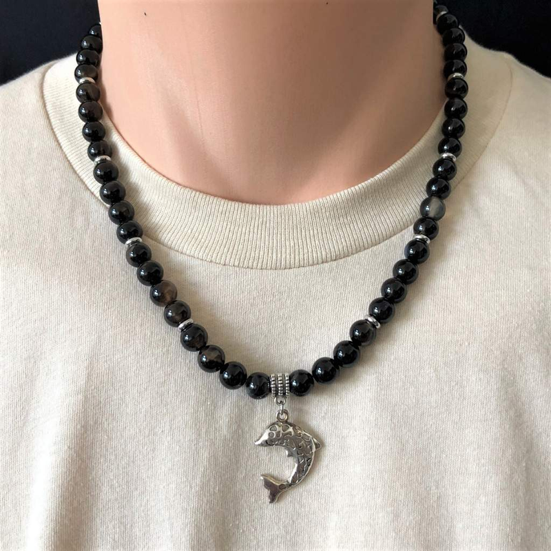 Dark Brown Agate and Silver Fish Mens Beaded Necklace