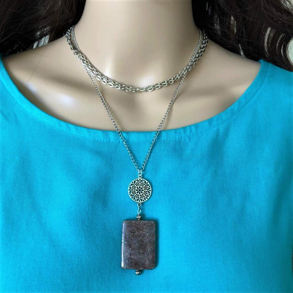Brown Jasper Rectangle Pendant Layered Necklace