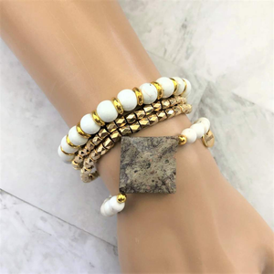 Brown Landscape and White Magnesite Beaded Bracelet