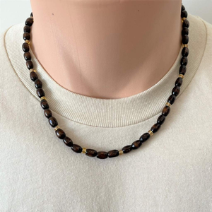 Brown Wood Barrel Beaded Mens Necklace