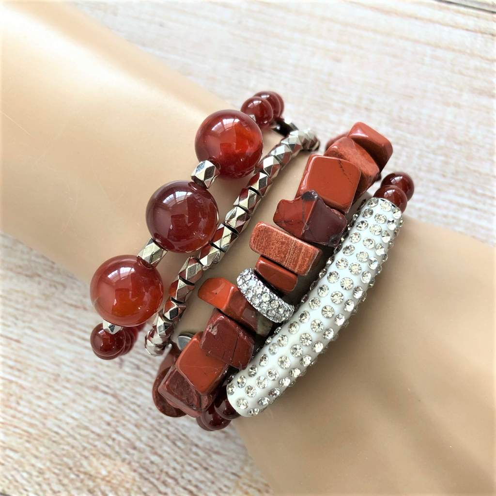 Red Jasper Chip and Silver Crystal Stretch Bracelet