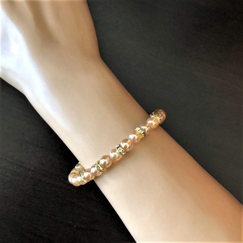 Champagne Glass and Crystal Beaded Stretch Bracelet - JaeBee Jewelry