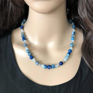 Cobalt Fire Blue Agate Necklace - JaeBee Jewelry