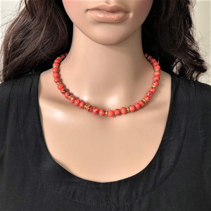 Coral Mosaic Shell and Gold Beaded Necklace - JaeBee Jewelry