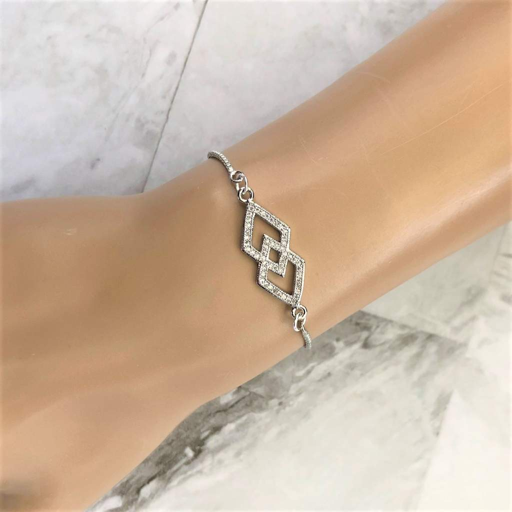 Crystal Double Diamond Silver Adjustable Bracelet