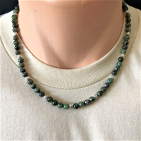 Mens Dendritic Green Jade Beaded Necklace