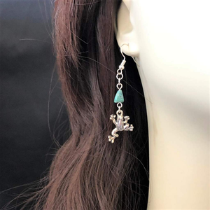 Silver Frog and Turquoise Stone Dangle Earrings