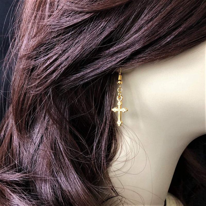 Gold Cross Dangle Earrings - JaeBee Jewelry