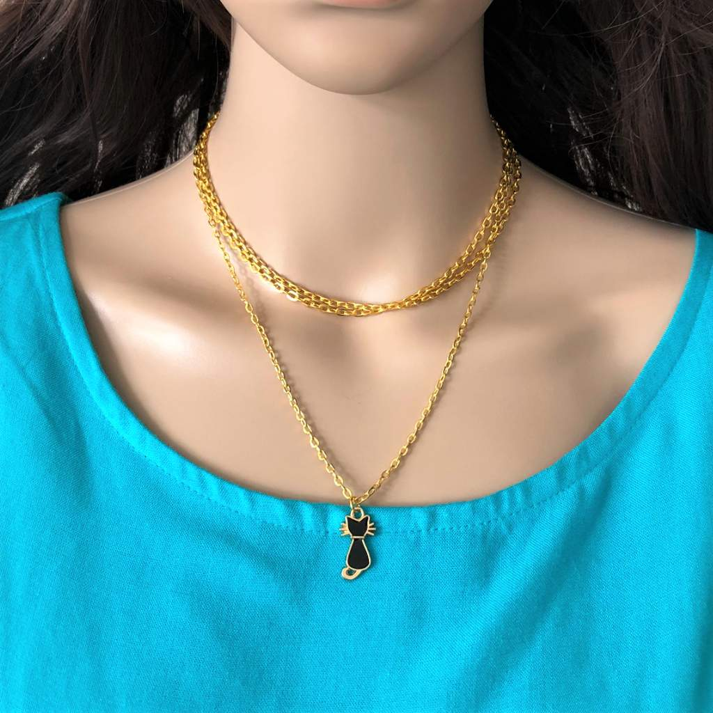 Gold Layered Necklace with Black Enamel Cat Charm
