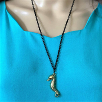 Gold Seahorse on Black Chain with Crystals - JaeBee Jewelry