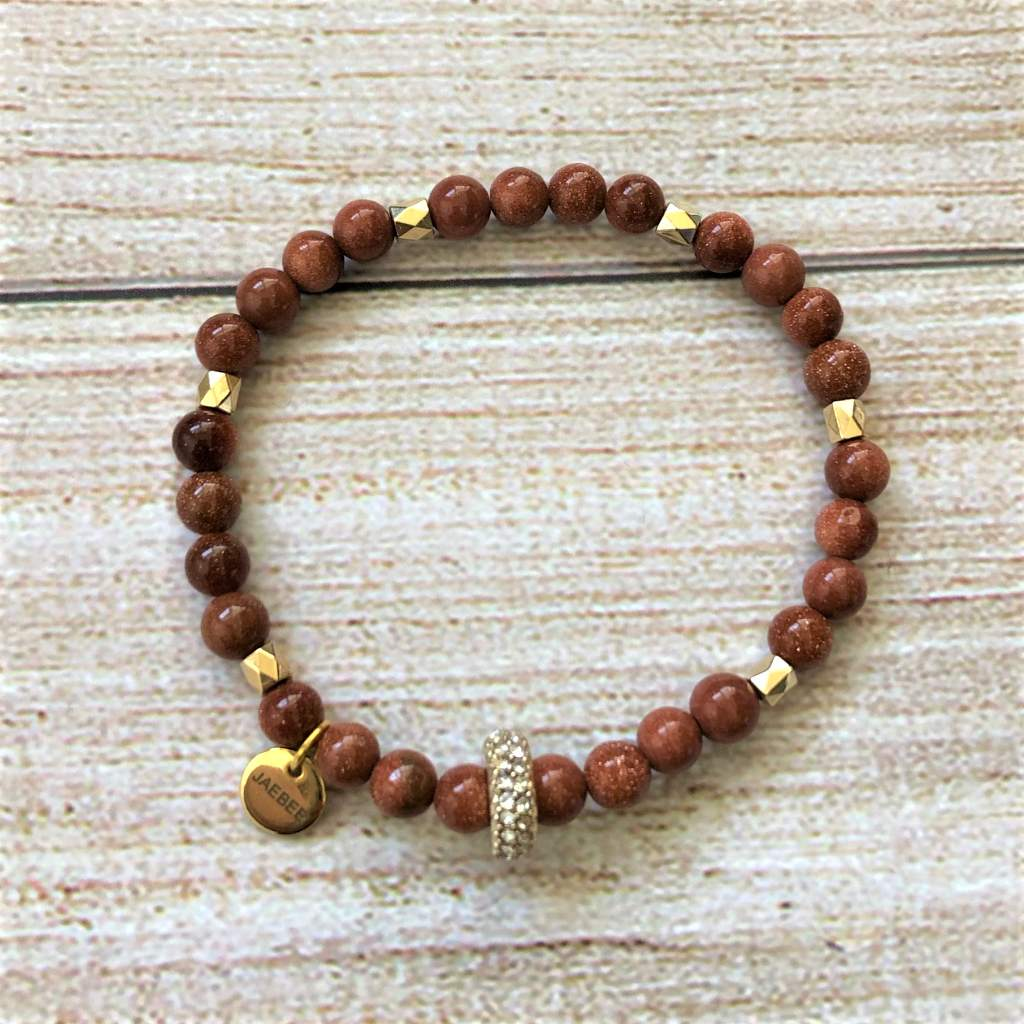Goldstone and Gold Crystal Beaded Bracelet